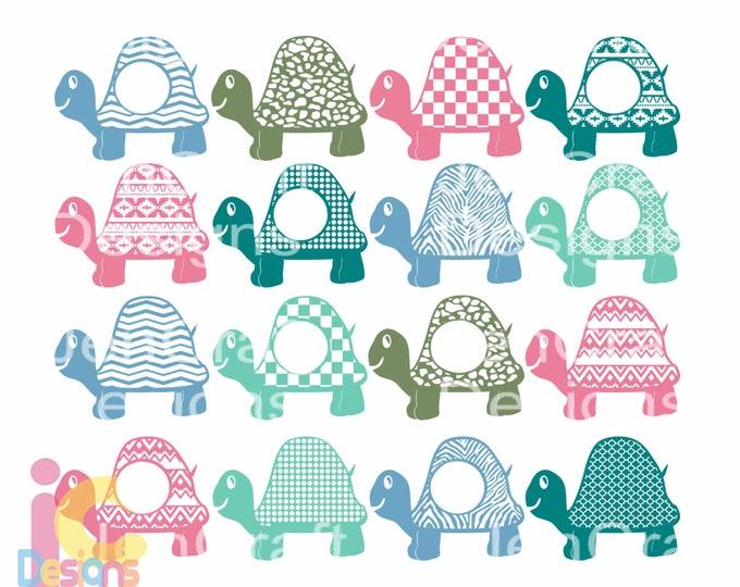 Turtle SVG Monogram Frame,cute  Kids Summer Beach Svg Cut Files, SVG, dxf, ai, eps, png Monogram SVG Cricut, Silhouette Digital Cut Files,