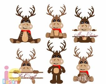 Christmas svg Reindeer Monogram Set Peeping Peeking SVG EPS Png DXF digital Silhouette Cricut, vector ClipArt graphics sublimation cut file
