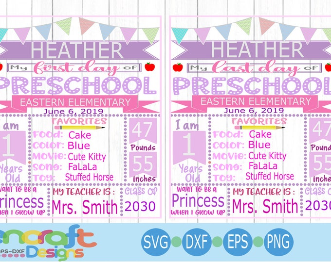 Preshool First Day of School SVG, Back to School SVG, Girl Last day of school, Chalkboard Sign Svg  Design, Sublimation png Svg, Eps, Dxf