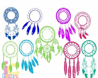 Dreamcatcher Svg Monogram frame, Feathers svg Tribal Boho Birthday cut files for cricut Eps Png Dxf, Cricut, Silhouette