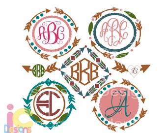 Arrow frame SVG  Boho Monogram Frames Svg cut file, SVG EPS Png Dxf, Cuttable Cricut Design Space, Silhouette Studio,Digital Cut Files