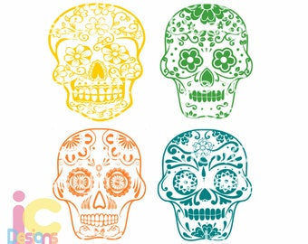 Sugar Skull SVG Cinco De Mayo svg Day of the Dead SVG Halloween Fiesta Set in Svg, eps, dxf and PNG Format for Cricut and Silhouette