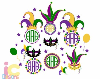 Mardi Gras SVG Bundle, Masquerade Mask Monogram Frame Set, Fat Tuesday New Orleans Jester Crown New Orleans Svg, EPS Png DXF