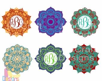 Mandala svg Zentangle Monogram layered Indian Boho digital design svg Spring Frames svg dxf eps jpg svg ai png monogram Frame svg cut files