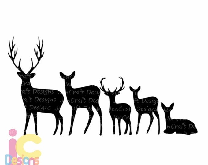 Deer svg Family Set SVG Cut Files Svg, Png, Dxf and Eps Cricut Design Space and Silhouette Studio. Vinyl Car Decal.