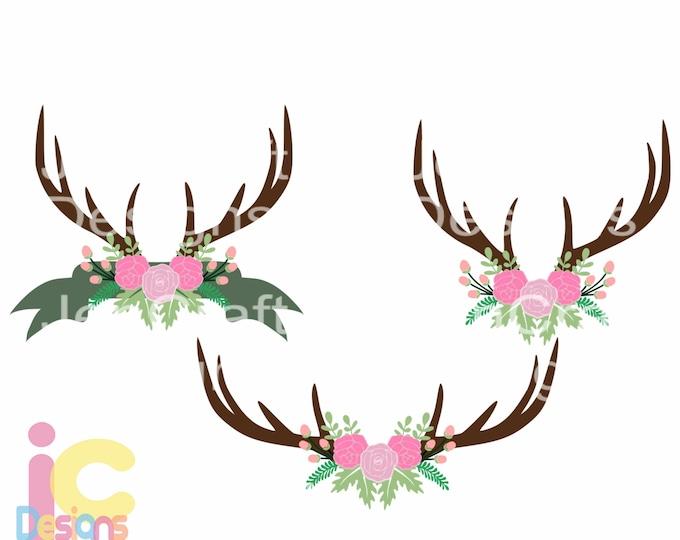Floral Deer Antler svg floral swag svg Hunting svg, flower svg Autumn Cut print File Set Svg eps, dxf PNG Cricut Silhouette, Digital clipart