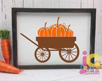 Pumpkins svg, Fall Autumn wagon Pumpkin SVG, DXF, EPS, png Pumpkin wagon svg, cutting files. Silhouette Studio and Cricut Design Space.