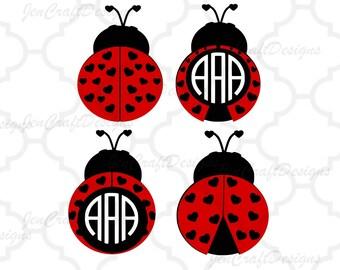 Heart Ladybug SVG Lovebug svg monogram Frames, valentine svg, lady bug beetle Svg, dxf, eps, png cut files, love bug monogram frame