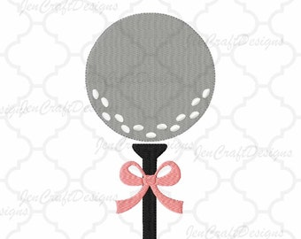Golf Ball on Tee Bow Embroidery Design, Instant Download digital file in PES, EXP, VIP, Hus, Xxx and Jef