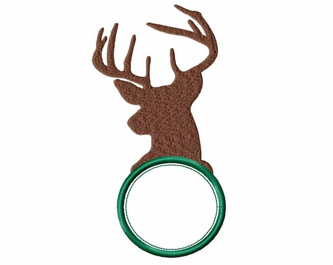 Deer Monogram Embroidery circle Frame, Machine Embroidery Design, Fall Instant Download digital file in PES, EXP, VIP, Hus, Xxx and Jef