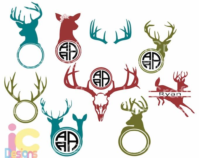 Hunting svg, Deer Head SVG Antler Monogram Frame, Dad Father Deer Clipart Bundle, Svg cut Files Svg, Dxf, Eps, Ai, PNG Cricut and Silhouette