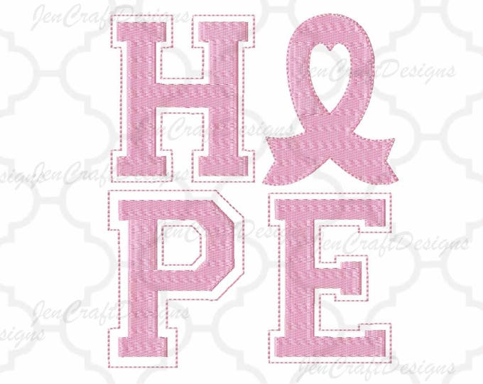 Breast Cancer HOPE Awareness Ribbon Embroidery Monogram Frame  INSTANT DOWNLOAD digital file in Exp, Hus, Jef, Pes, Vip and Xxx