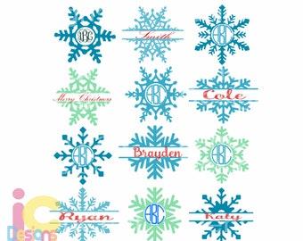 Snowflake SVG snow Flake Christmas svg Monogram Frames Svg Eps Png Dxf, digital download  Silhouette Cricut ClipArt Cut file sublimation