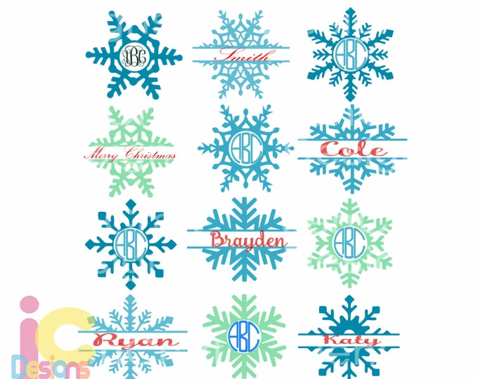 Snowflake SVG snow Flake Christmas svg Monogram Frames Svg Eps Png Dxf, digital download  Silhouette Cricut ClipArt Cut file sublimation