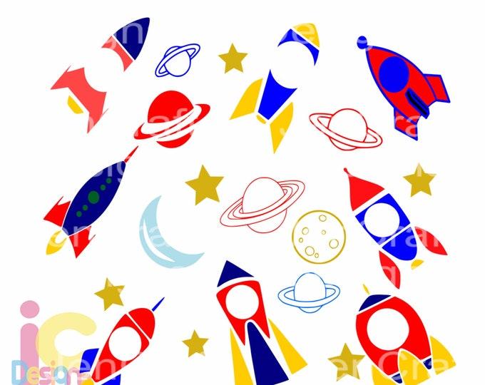 Spaceship svg, Space Rockets SVG Boy Birthday Rocketship Galaxy Monogram Frame SVG, EPS Png Dxf Silhouette Cricut, Clip Art