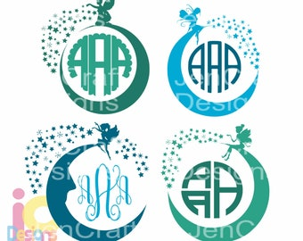Fairy Svg Kids Design Monogram Frame, half moon svg, magic Baby Girl Pixie Dust SVG EPS Png Dxf, Cricut, Silhouette, Digital Cut Files