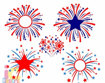 Fireworks, monogram, frame, 4th of July, America, Patriotic, SVG, Silhouette, Cricut Holiday, Memorial Day,flag, Independence day