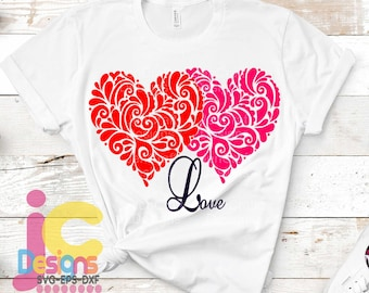 Valentine SVG Filigree Zetangle Wedding Engagement Two Hearts Love Svg, Eps, Dxf, Png Valentines day svg, heart svg cricut Silhouette