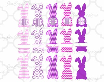 Easter Bunny Monogram Frames Svg, Easter Monogram Frames, Easter Split Monogram Easter SVG,EPS,Dxf,digital  download files Silhouette Cricut