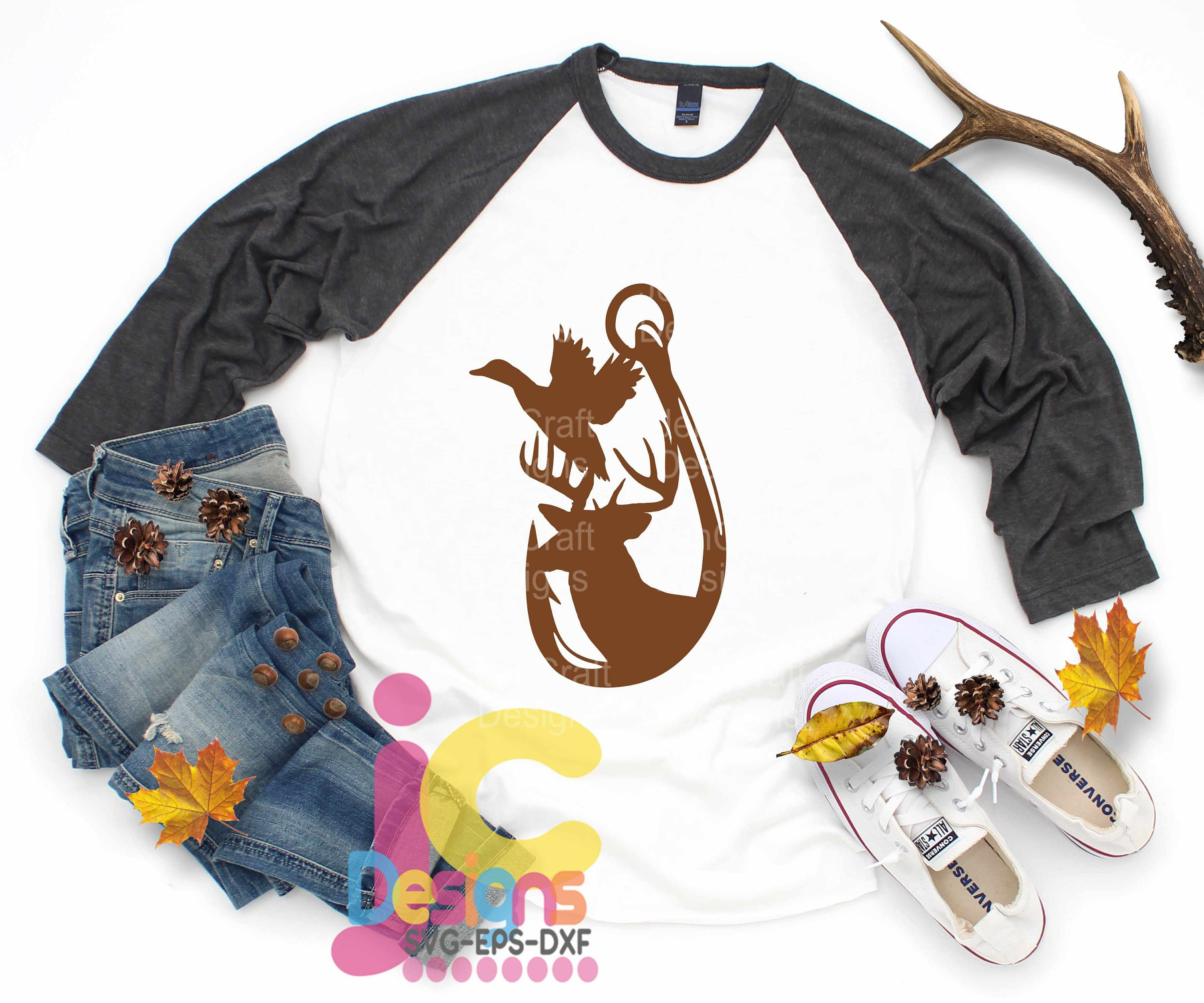 Free Discover endless design options for any style, any budget, and any occasion. Hunting Fishing Svg Fathers Day Dad Shirt Design Duck Deer And Hook In Svg Eps Dxf Ai Png Format For Cricut And Silhouette SVG, PNG, EPS, DXF File