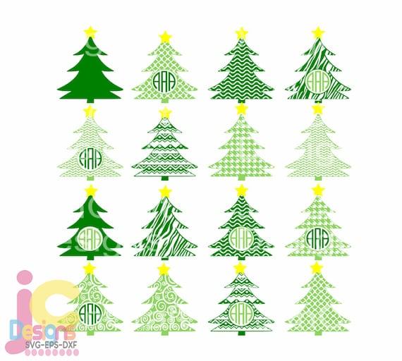 Christmas Svg Tree Svg Monogram Frames Svg Svg Eps Png Dxf Etsy