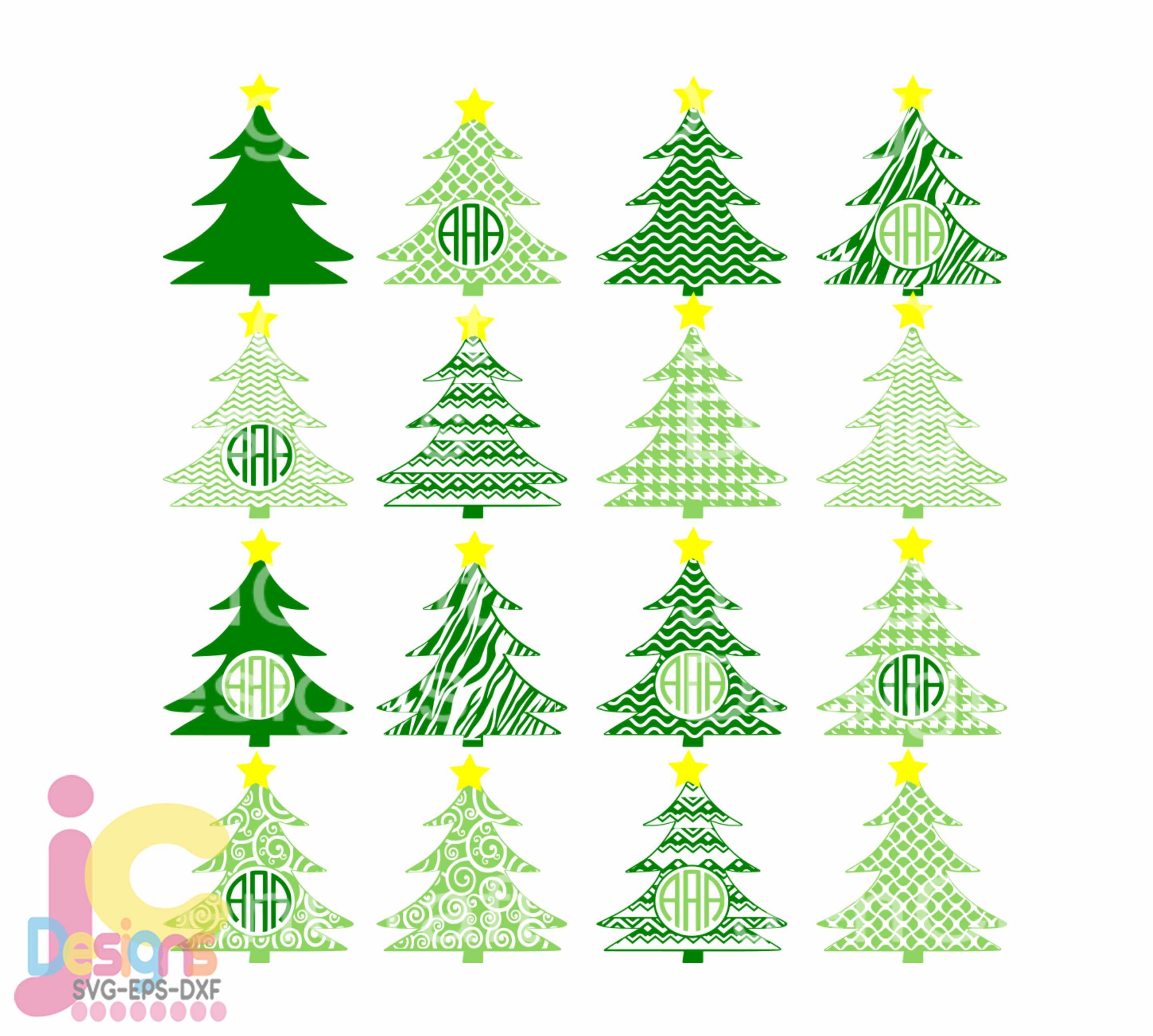 Christmas Svg Tree Svg Monogram Frames Svg Svg Eps Png Dxf Cricut Design Space Silhouette Studio Digital Cut Files Printable