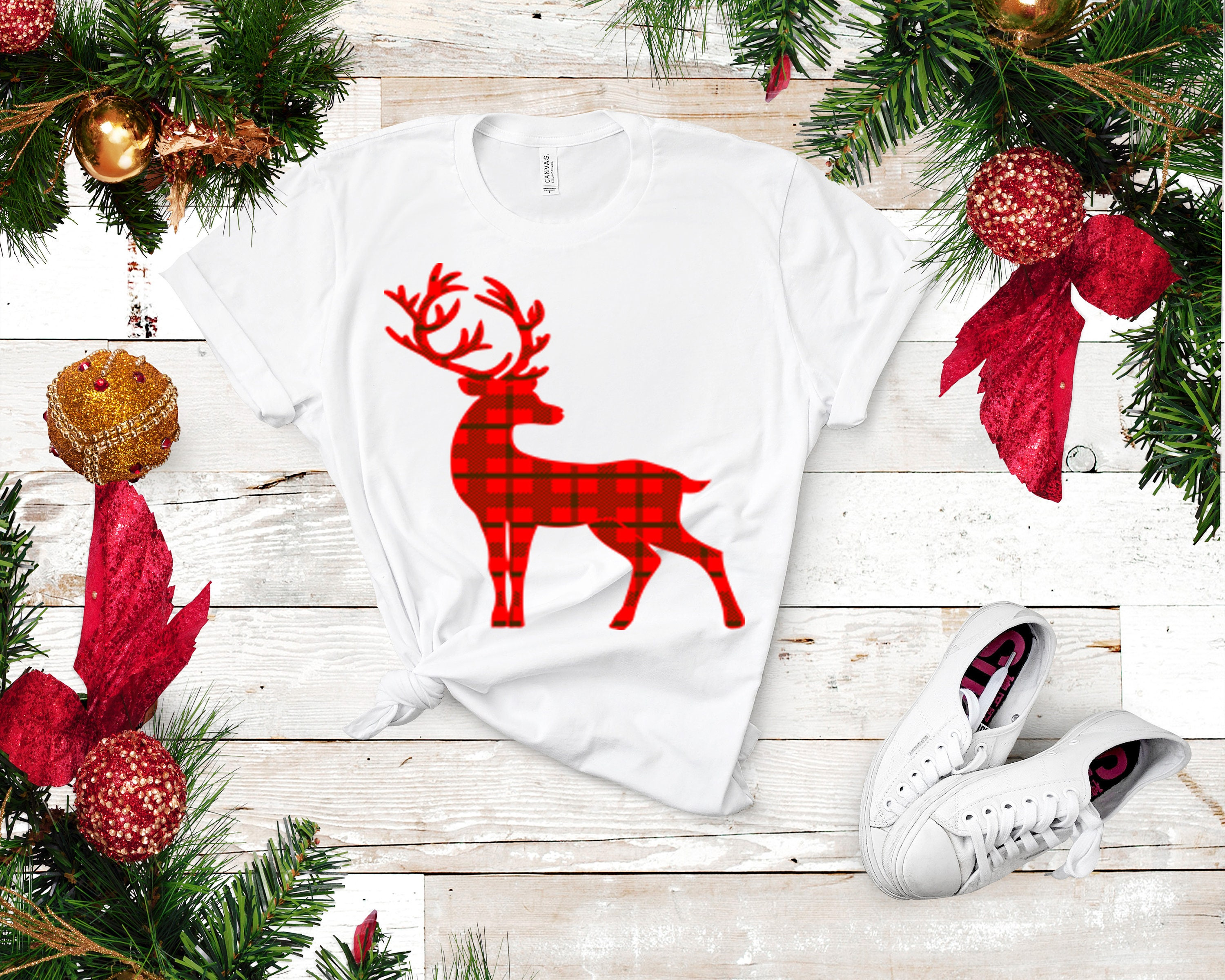 Plaid Christmas Reindeer Svg Eps Png Dxf Digital Download Cut