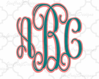 Shadow Interlocking Monogram svg Shadow Alphabet SVG EPS Dxf Png Cut Files (NOT install fonts) A-Z Alphabet Silhouette and Cricut Ds