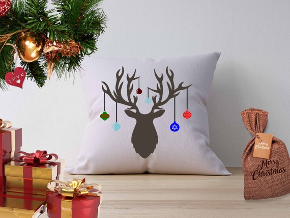 Hanging Christmas Ornaments Silhouette.Christmas Deer Antler Hanging Ornaments Svg Cutting Files Svg Eps Png Dxf Cricut Design Space Silhouette Digital Cut Files Print Then Cut