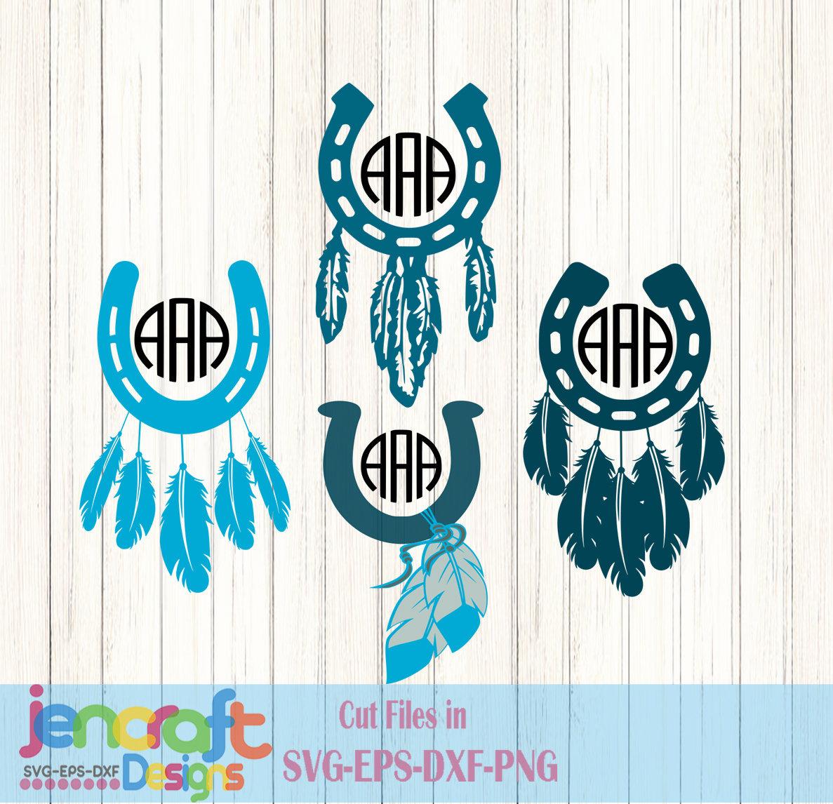 Horseshoe and Feathers SVG Monogram Frames SVG, Dxf, Eps