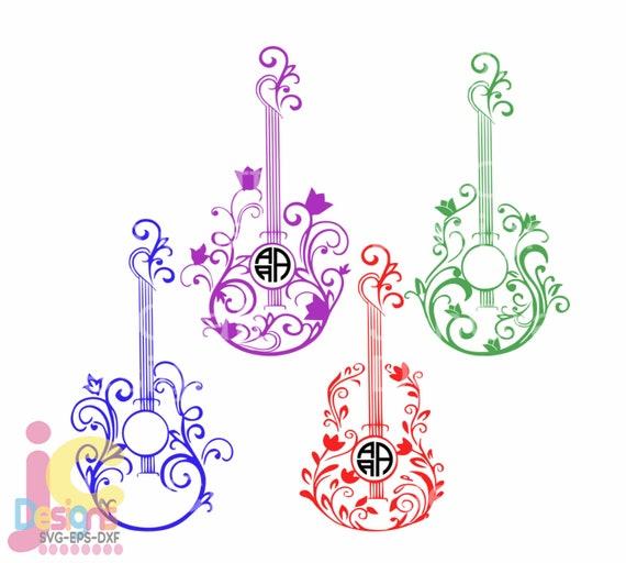 Floral Guitar Svg Music Monogram Frame Boho Musical Design Etsy