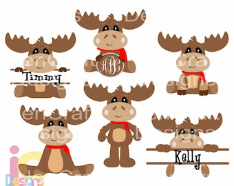 Moose Svg, Christmas Peeping Monogram set Peeking SVG EPS Png DXF digital download Silhouette Cricut, vector Clip Art graphics Vinyl Cutting