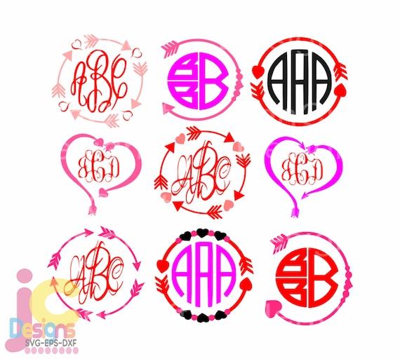 Heart Arrow Monogram Frames Svg Wedding Valentine Svg Eps Png Etsy