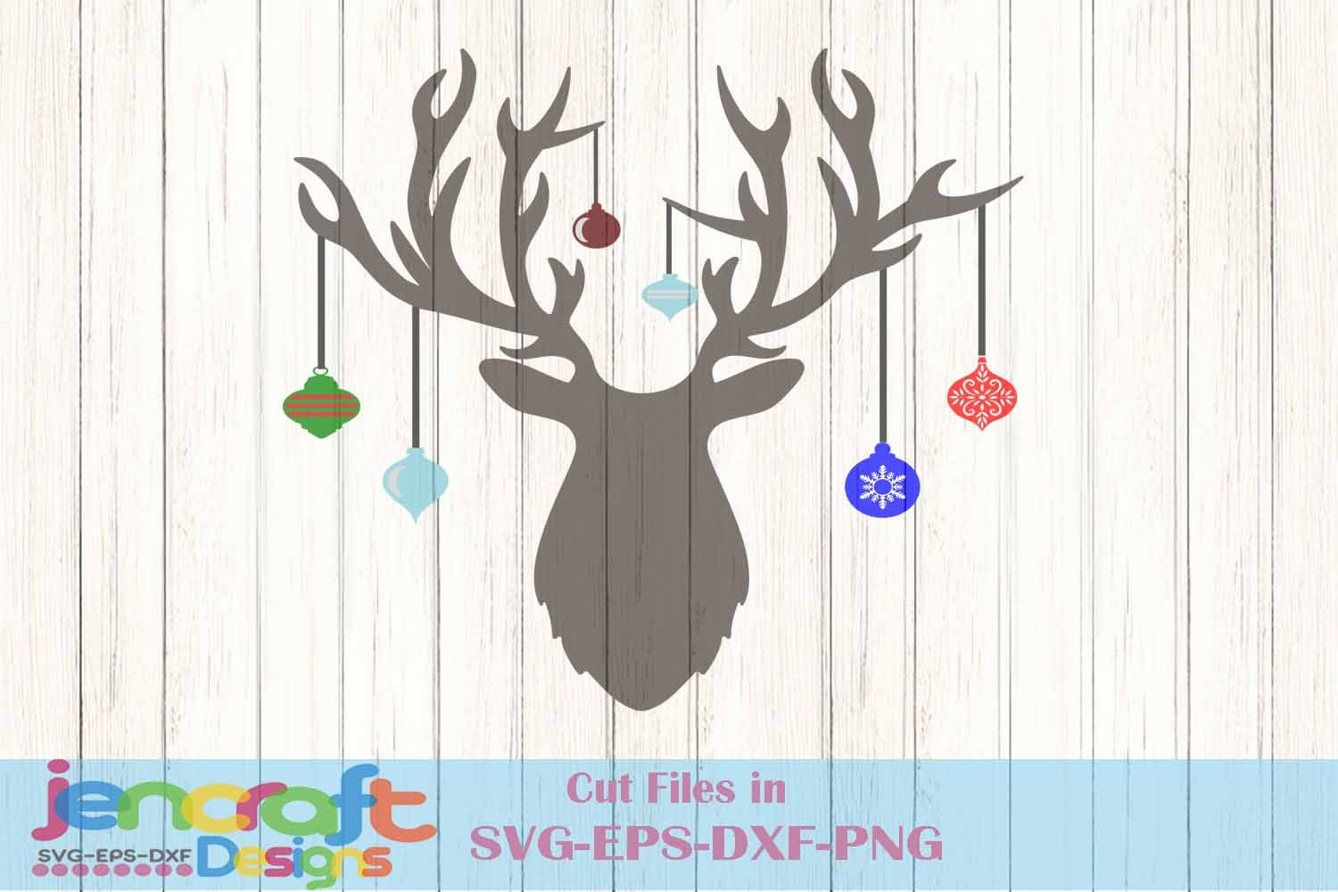 Christmas Deer Antler Hanging Ornaments Svg Cutting Files Svg Eps Png Dxf Cricut Design Space Silhouette Digital Cut Files Print Then Cut