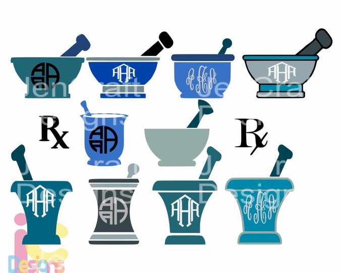 RX Pharmacy svg Mortar And Pestle Doctor Nurse RN svg Monogram Frame SVG Eps Png Dxf, cut file Cricut, Silhouette Digital Cut Files