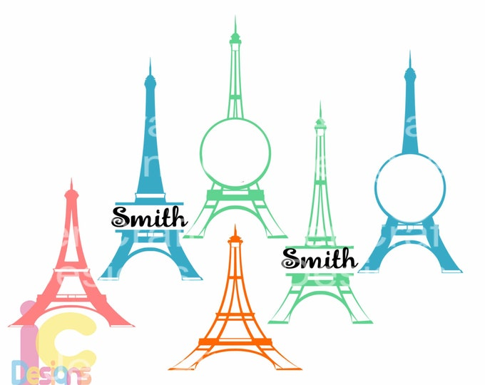 Paris SVG Eiffel Tower French France Wedding Honeymoon Monogram Frames Svg, DXF, EPS use Silhouette Studio & Cricut, Cutting Cut