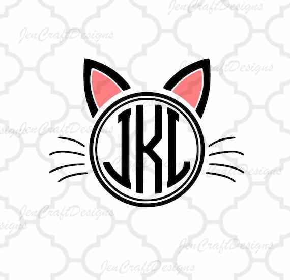 Cat Ears SVG Monogram Frame EPS Dxf Png Cut