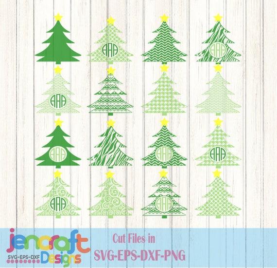 Christmas Tree Svg Monogram Frames Svg Svg Eps Png Dxf Etsy