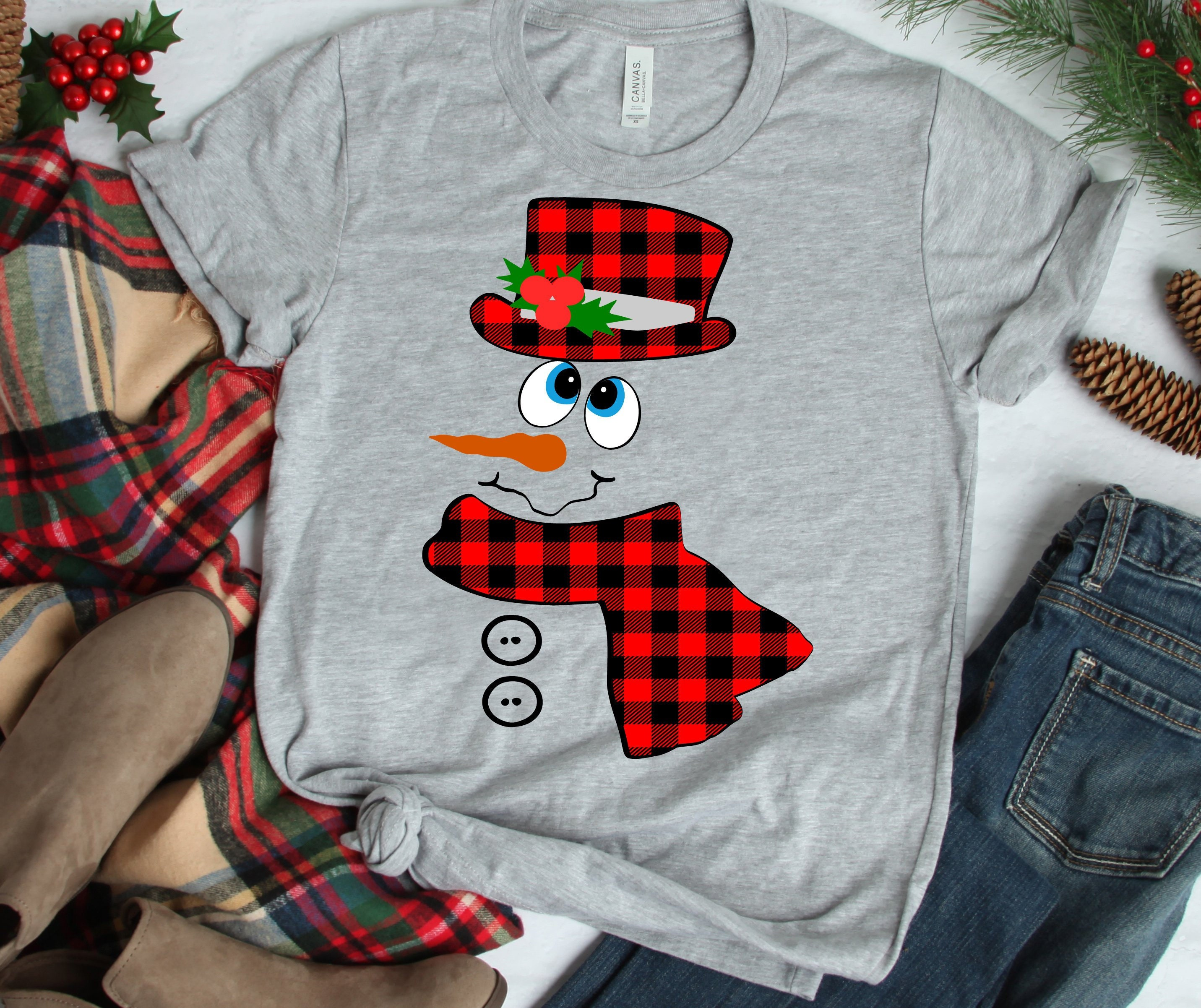 Buffalo Plaid Snowman SVG Christmas Holiday SVG DXF Eps ...
