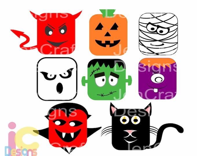 Halloween Svg Monster Design Frankenstein, Dracula, Ghost, Pumpkin Mummy face, SVG, Eps, DXF, Png Kids Cut file Silhouette, Cricut