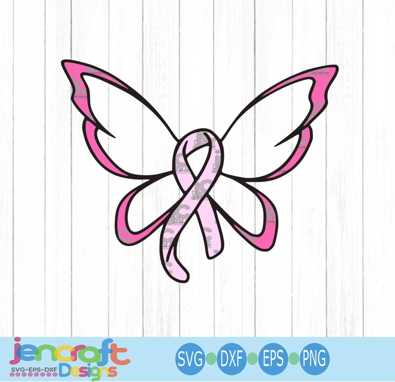 Cancer Ribbon Svg Butterfly Svg Breast Cancer Awareness Cut File Pink Ribbon Survivor Fighter Svg Dxf Png Eps Cricut Silhouette Digital