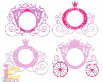 Carriage SVG, Princess Carriage Monogram SVG, Birthday Monogram Frame SVG, eps, dxf, png  vector design cricut silhouette cutting machines
