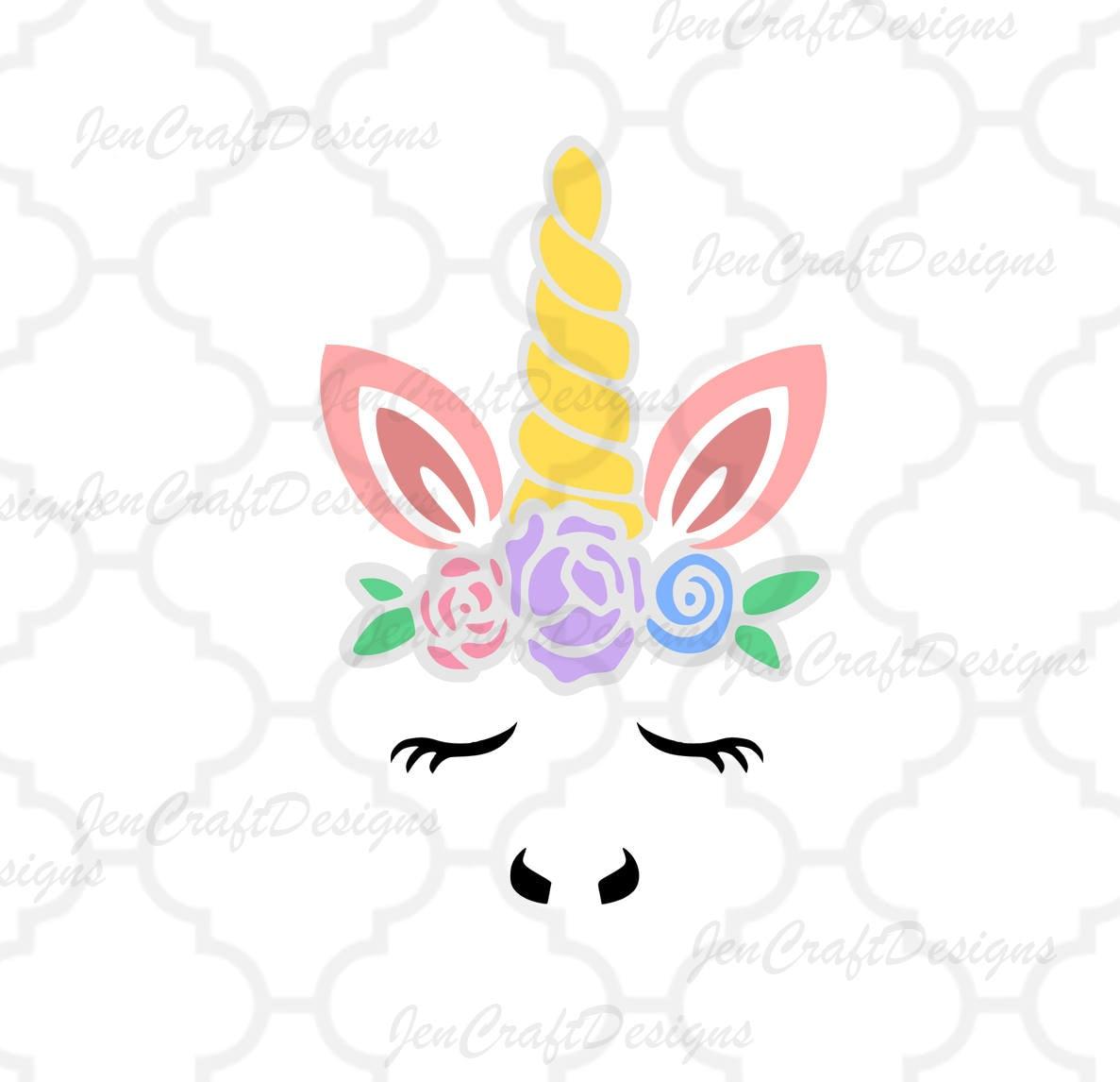 Floral Unicorn Face Svg Gold Horn Unicorn Svg Unicorn Eyelashes