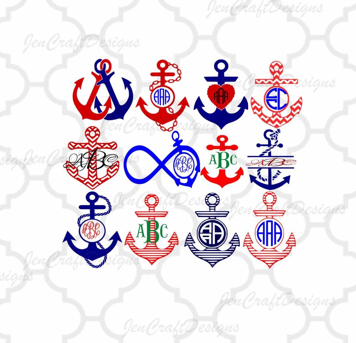 Anchor Monogram SVG Cuttable Nautical Anchor SVG, DXF