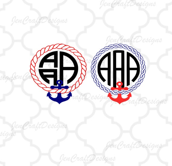 Anchor Monogram Frame Svg Rope Instant Download Svg Dxf Etsy