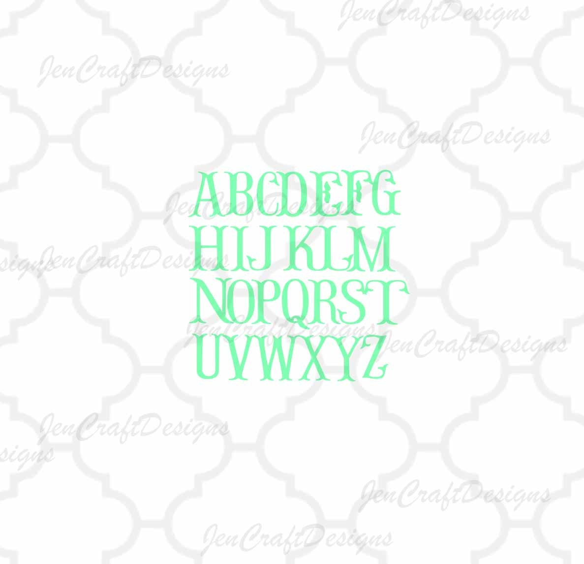 Download Fishtail Svg Fish Hook Monogram Font Monogram Svg Monogram Letters Alphabet Svg Files Svg Eps Dxf Cut Files Cricut Silhouette