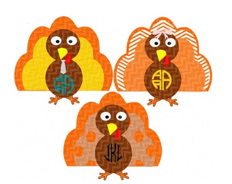 Monogram Patterned Turkey SVG EPS Png DXF, studio files for Cricut, Silhouette, Vinyl Cutters  Layered Cut Files, Print Then Cut png