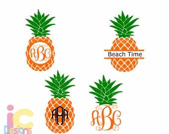 Pineapple SVG Round Monogram Tropical Hawaiian Summer Monogram Cricut Silhouette,  svg Eps, DXF Cut File Split Frame Pineapple
