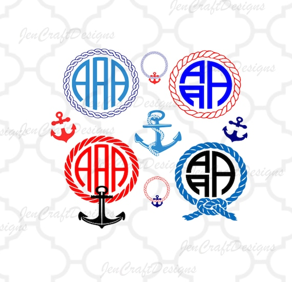 Nautical Rope Monogram Frames Svg Anchor Svg Rope Instant Etsy