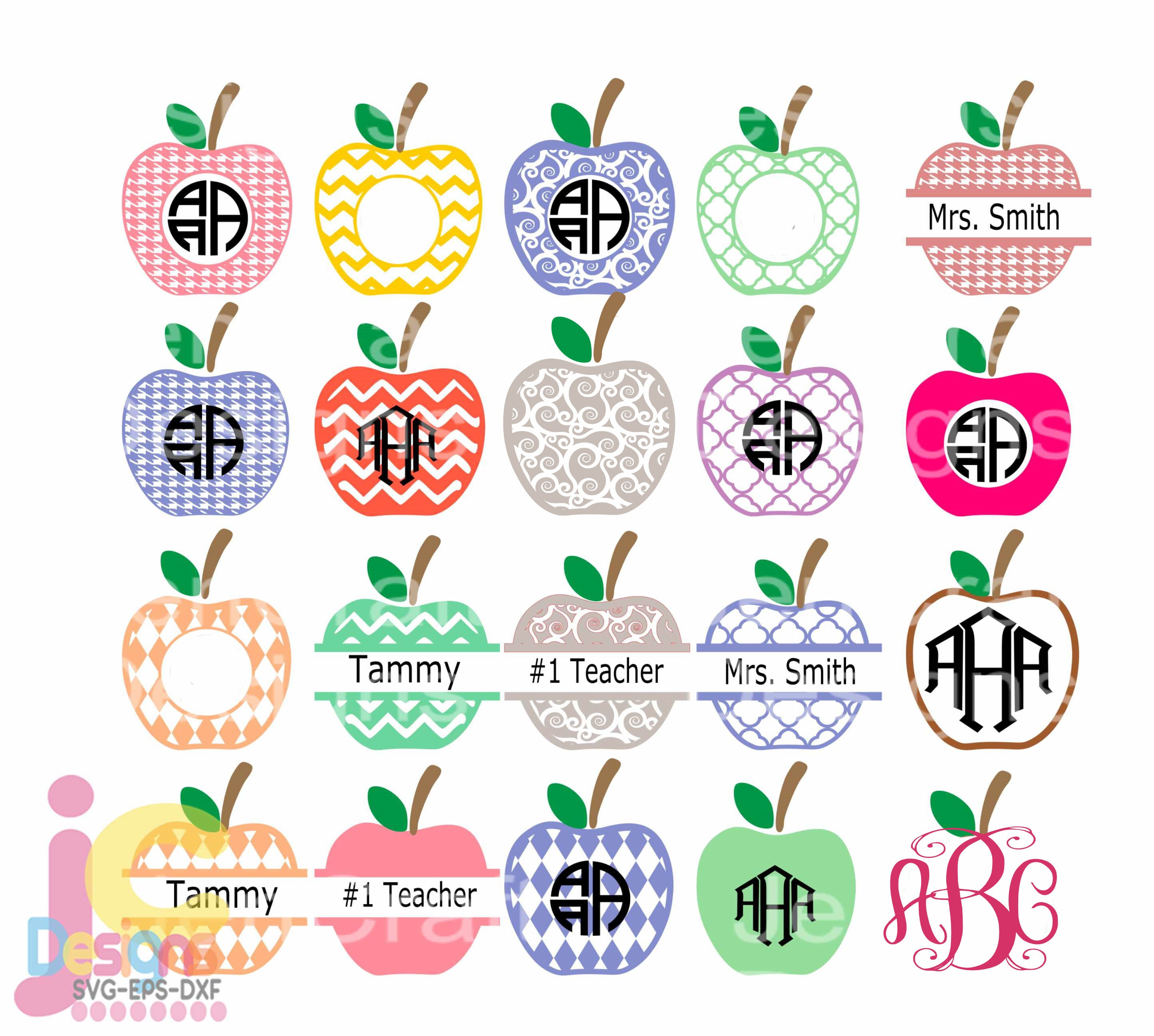 School Apple Svg Frames Teacher Svg Graduation Monogram Frame Class Appreciation Designs For Cricut Bundle Cut Files Svg Dxf Ai Eps Png Jpg